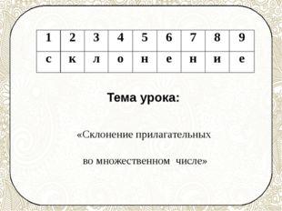 Тема урока: «Склонение прилагательных во множественном числе» 1 2 3 4 5 6 7 8