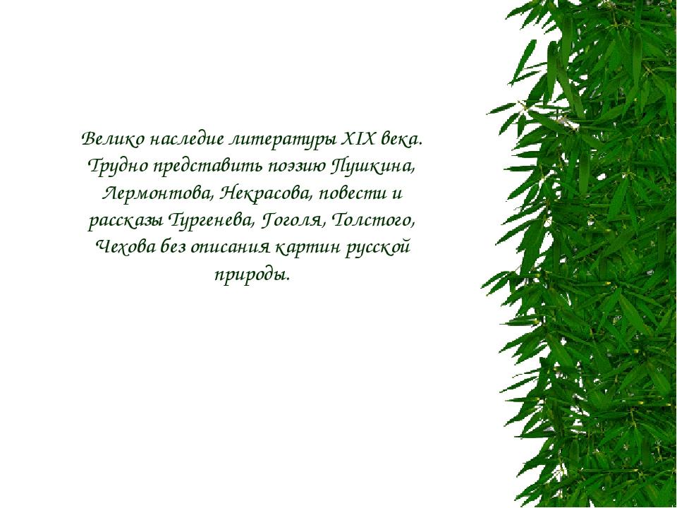 Велико наследие литературы XIX века. Трудно представить поэзию Пушкина, Лермо...