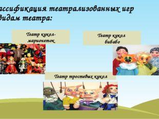 Классификация театрализованных игр по видам театра: Театр кукол-марионеток Те