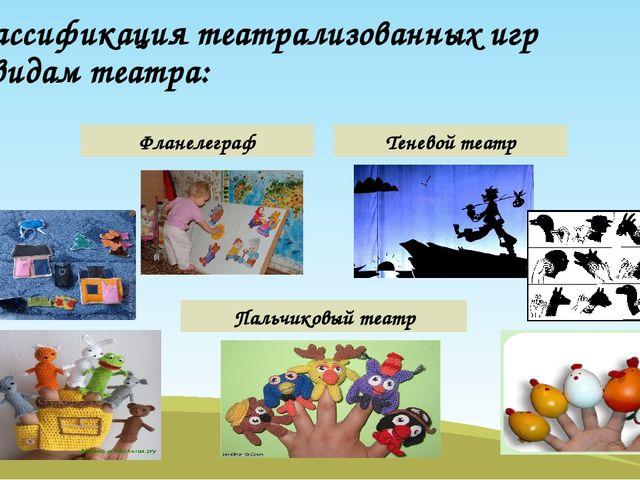 Классификация театрализованных игр по видам театра: Фланелеграф Теневой театр...
