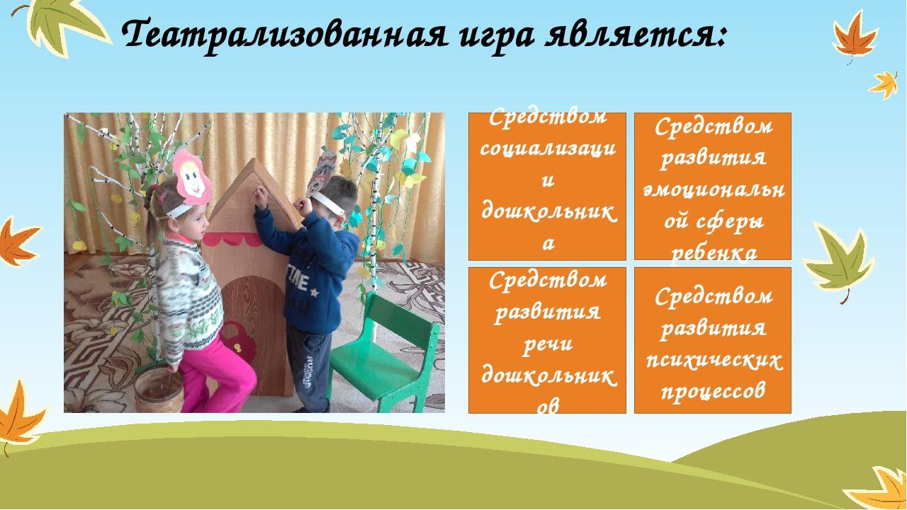 Театрализованная игра является: Средством социализации дошкольника Средством...