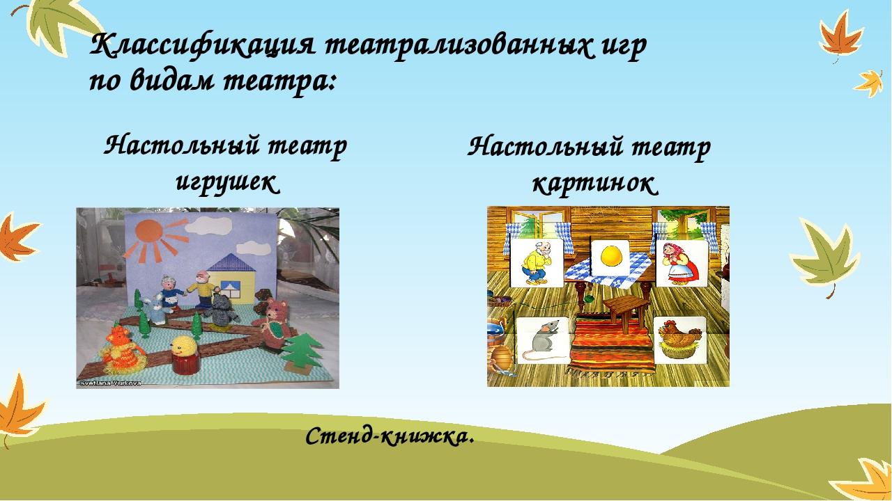 Классификация театрализованных игр по видам театра: Настольный театр игрушек...