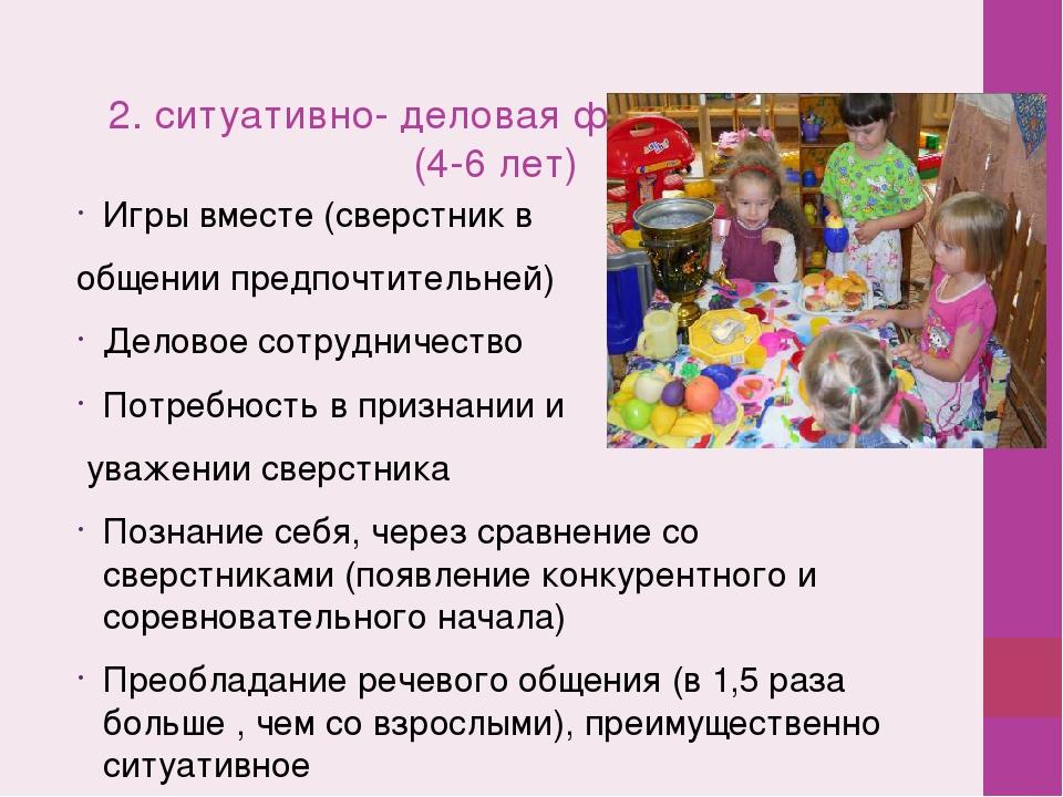2. ситуативно- деловая форма общения (4-6 лет) Игры вместе (сверстник в обще...