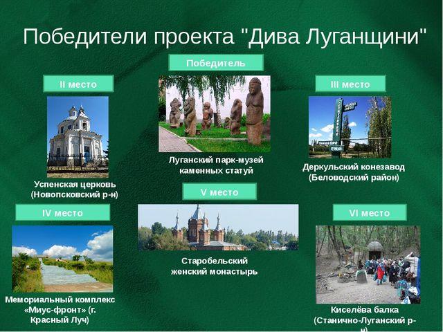 "Победители проекта ""Дива Луганщини"" Победитель V место IV место II место III..."