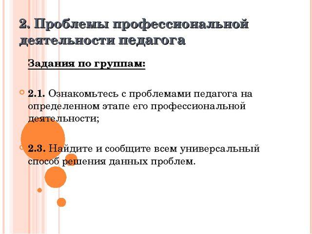 2. Проблемы профессиональной деятельности педагога Задания по группам: 2.1....