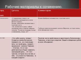 Рабочие материалы к сочинению. Ф.И.О.автора, название произведения. Цитаты.