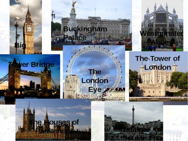 Big Buckingham Palace Westminster Abbey Tower Bridge The London Eye The Tower...