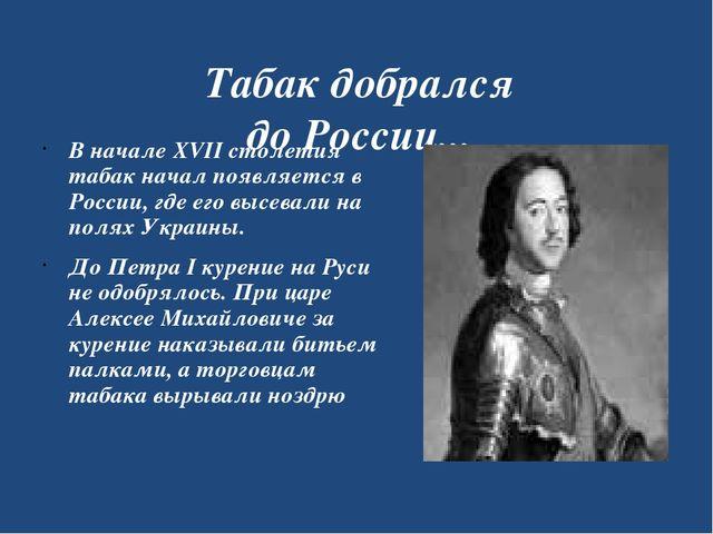Табак добрался до России... В начале XVII столетия табак начал появляется в Р...