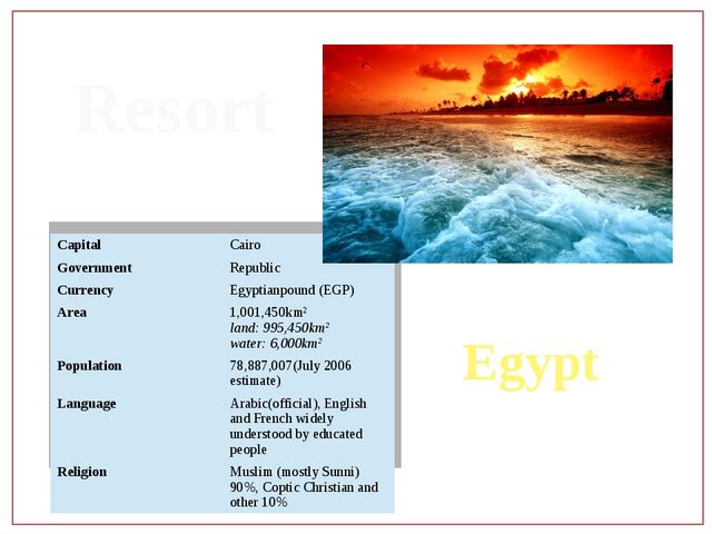 Resort Egypt Capital Cairo Government Republic Currency Egyptianpound (EGP) A...