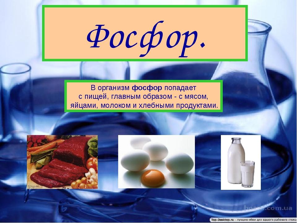 Фосфор. В организм фосфор попадает с пищей, главным образом - с мясом, яйцами...