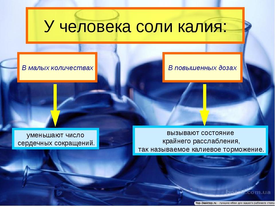 У человека соли калия: В малых количествах В повышенных дозах уменьшают число...