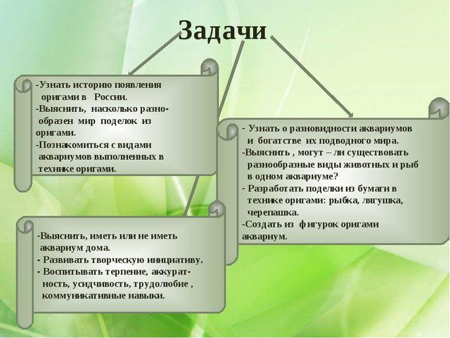 Задачи Узнать историю появления оригами в России. Выяснить, насколько разно-...
