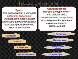 Тропы и фигуры речи Троп – это оборот речи, в котором слово или выражение упо