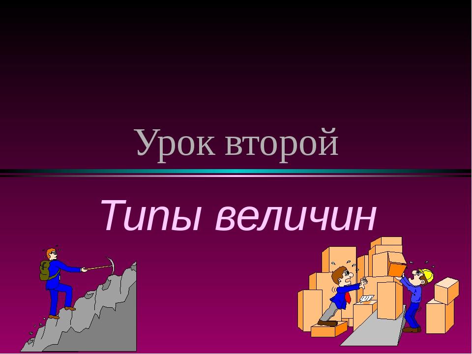 Урок второй Типы величин