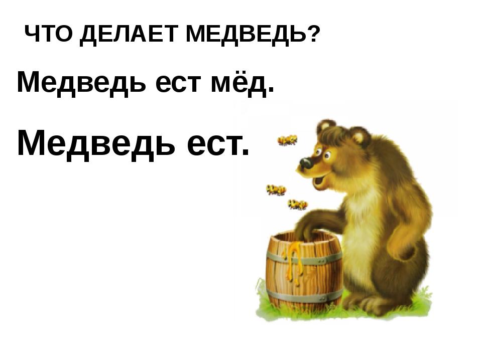 ЧТО ДЕЛАЕТ МЕДВЕДЬ? Медведь ест мёд. Медведь ест.