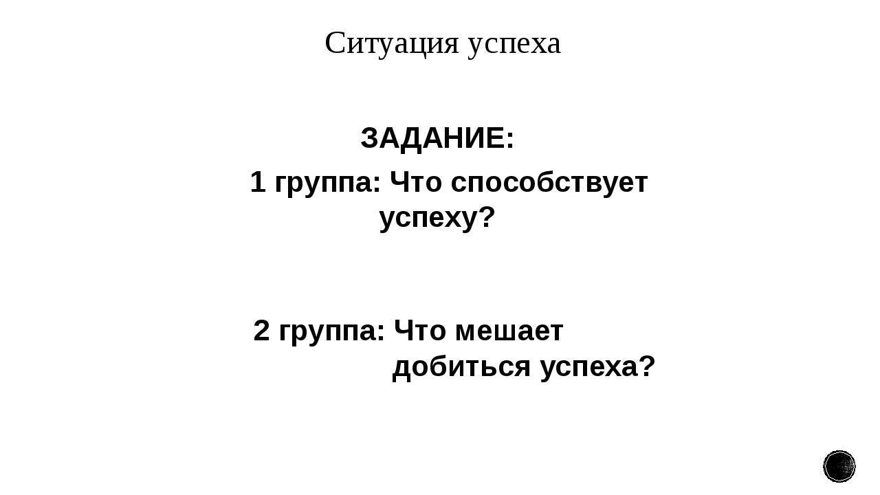 Ситуация успеха ЗАДАНИЕ: 1 группа: Что способствует успеху? 2 группа: Что меш...