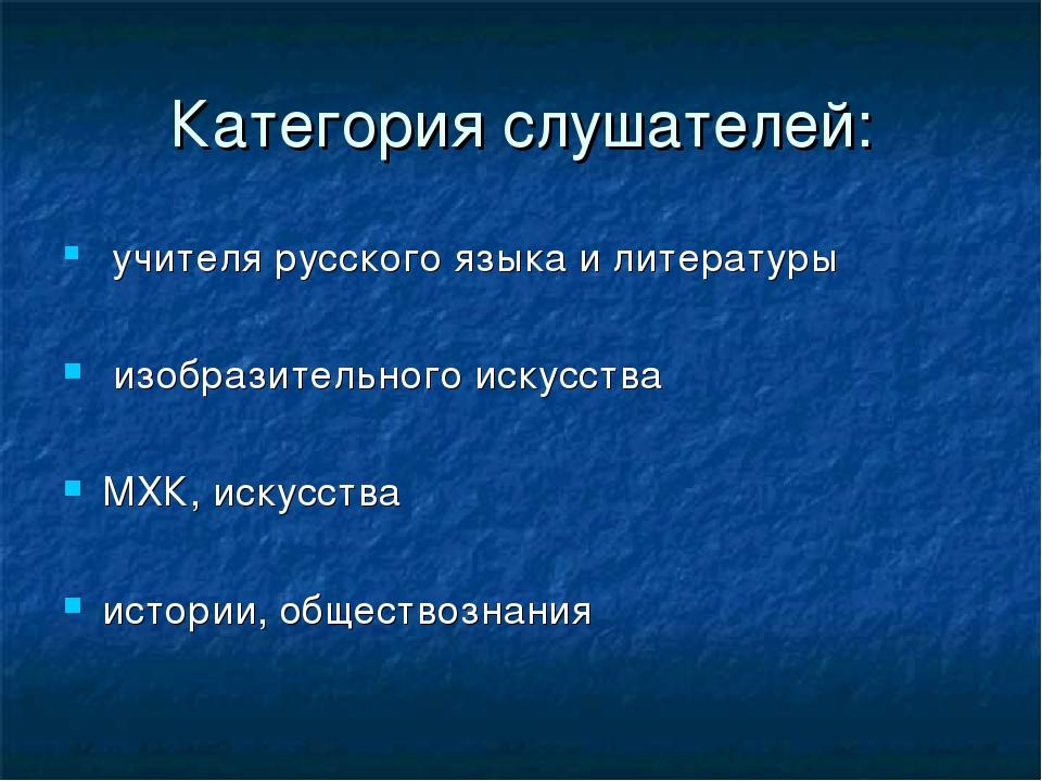 Категория слушателей: учителя русского языка и литературы изобразительного ис...