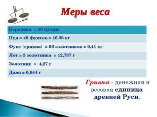 Меры веса Гривна - денежная и весоваяединица древнейРуси. Берковец = 10 пу