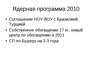 Ядерная программа 2010 Соглашение НОУ-ВОУ с Бразилией, Турцией Собственное об