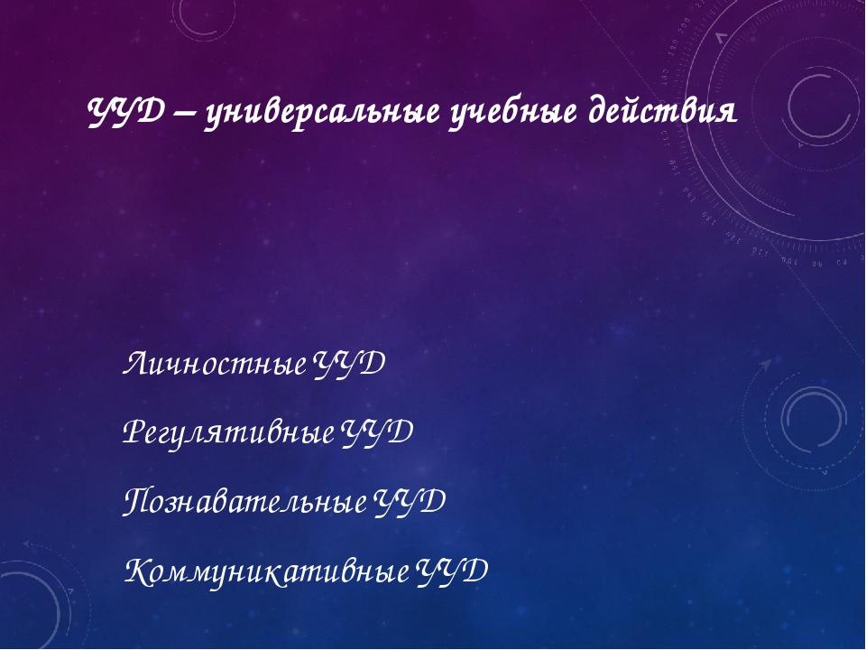 УУД – универсальные учебные действия Личностные УУД Регулятивные УУД Познават...