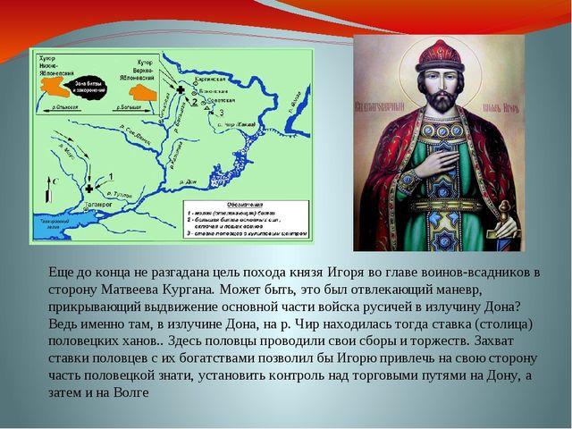 Еще до конца не разгадана цель похода князя Игоря во главе воинов-всадников в...