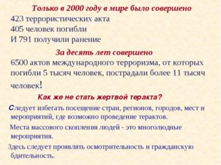 Только в 2000 году в мире было совершено 423 террористических акта 405 челов