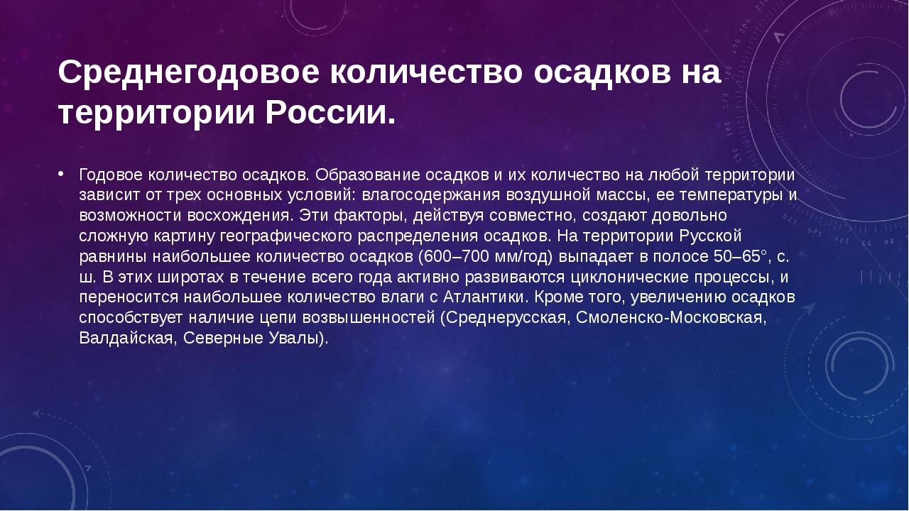Среднегодовое количество осадков на территории России. Годовое количество оса...