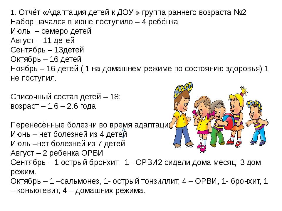 1. Отчёт «Адаптация детей к ДОУ » группа раннего возраста №2 Набор начался в...