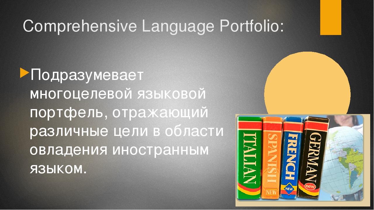 Comprehensive Language Portfolio: Подразумевает многоцелевой языковой портфел...