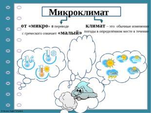 от «микро» в переводе с греческого означает «малый» Микроклимат климат – это