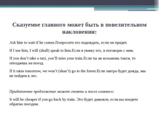 Сказуемое главного может быть в повелительном наклонении: Ask him to wait if