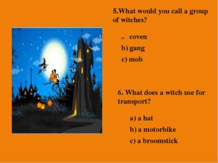 5.What would you call a group of witches? coven b) gang c) mob 6. What does a