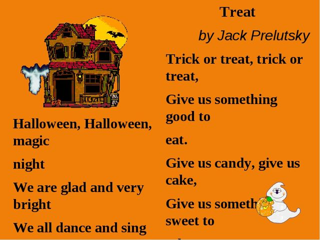 Halloween, Halloween, magic night We are glad and very bright We all dance an...