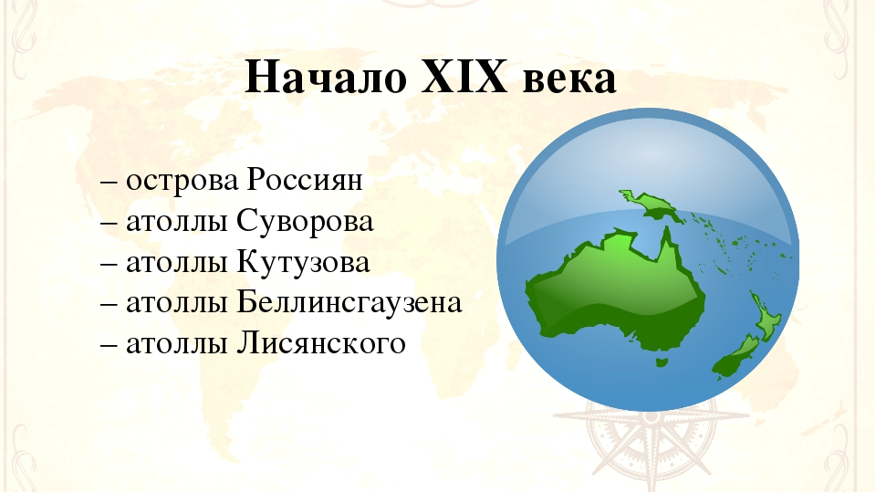 Начало XIX века – острова Россиян – атоллы Суворова – атоллы Кутузова – атолл...