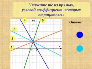 Укажите те из прямых, угловой коэффициент которых отрицателен. 2 1 3 4 5 Ответ:
