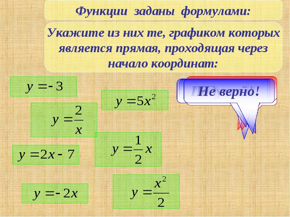 Функции заданы формулами: Укажите из них те, графиком которых является прямая...