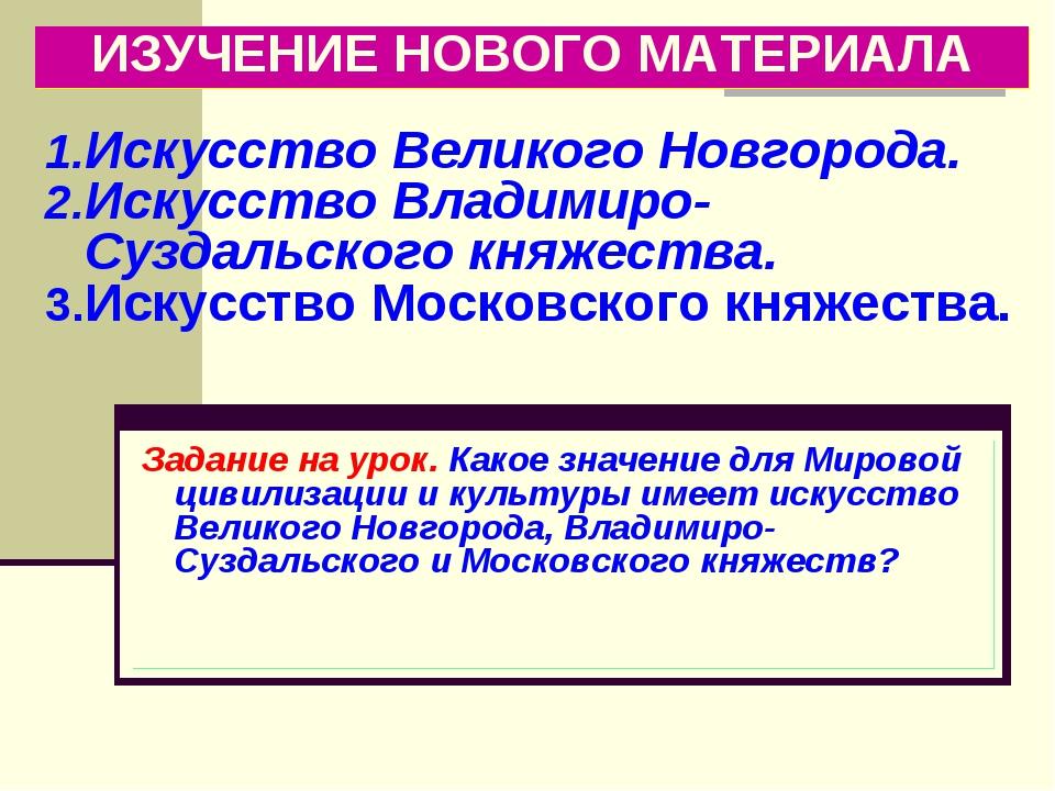 ИЗУЧЕНИЕ НОВОГО МАТЕРИАЛА Искусство Великого Новгорода. Искусство Владимиро-С...