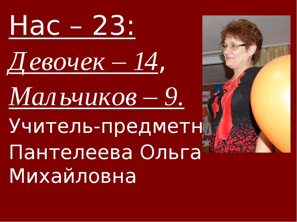 Нас – 23: Девочек – 14, Мальчиков – 9. Учитель-предметник - Пантелеева Ольга...
