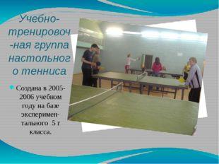 Учебно-тренировоч-ная группа настольного тенниса Создана в 2005-2006 учебном
