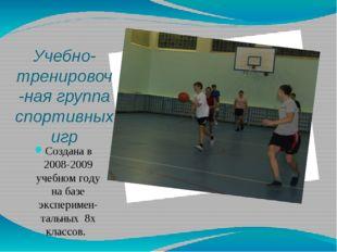 Учебно-тренировоч-ная группа спортивных игр Создана в 2008-2009 учебном году
