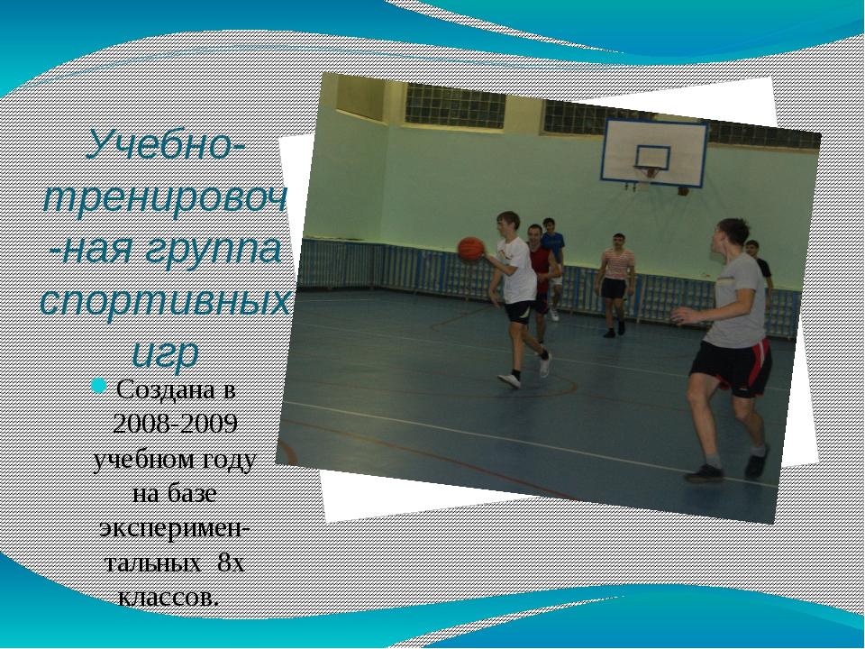 Учебно-тренировоч-ная группа спортивных игр Создана в 2008-2009 учебном году...
