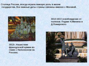 Столица России, всегда играла важную роль в жизни государства. Все важные дат