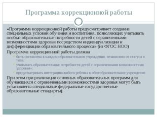 Программа коррекционной работы «Программа коррекционной работы предусматривае