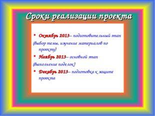 Сроки реализации проекта Октябрь 2013– подготовительный этап (выбор темы, изу