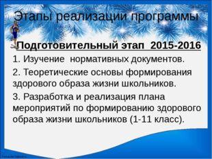 Этапы реализации программы Подготовительный этап2015-2016 1. Изучение норма