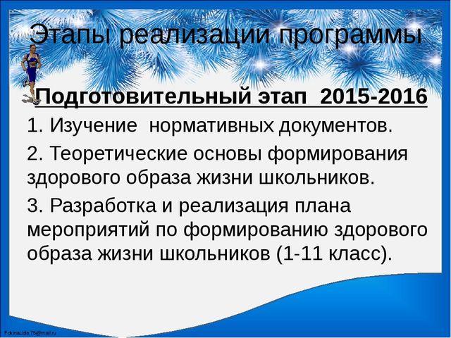 Этапы реализации программы Подготовительный этап2015-2016 1. Изучение норма...