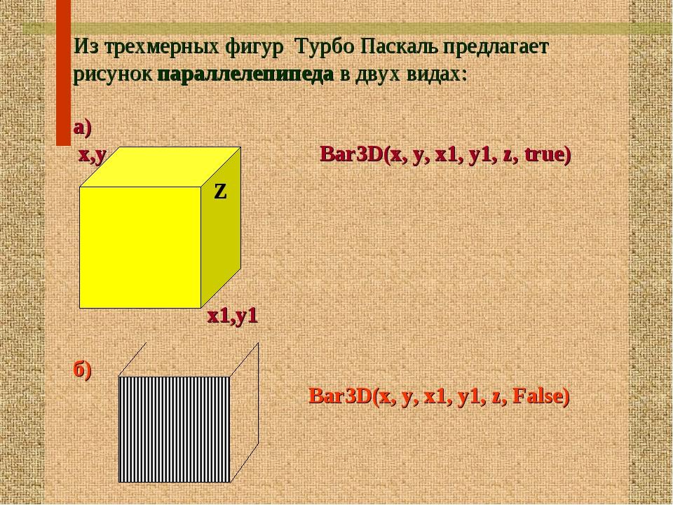 Из трехмерных фигур Турбо Паскаль предлагает рисунок параллелепипеда в двух в...