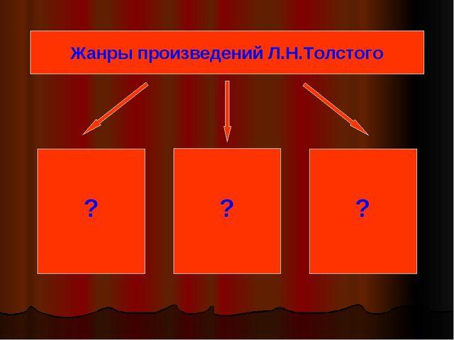 ? ? ? Жанры произведений Л.Н.Толстого