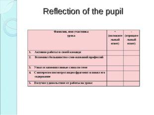 Reflection of the pupil Фамилия, имя участника урока+ (положительный ответ)
