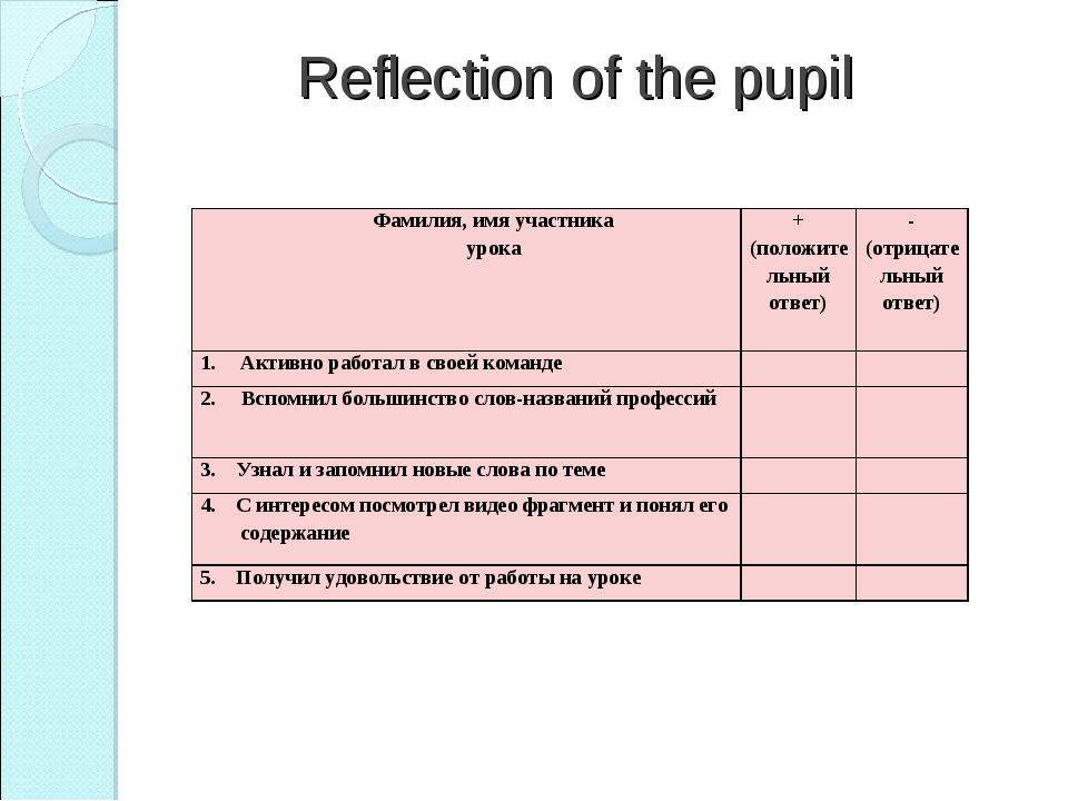 Reflection of the pupil Фамилия, имя участника урока+ (положительный ответ)...
